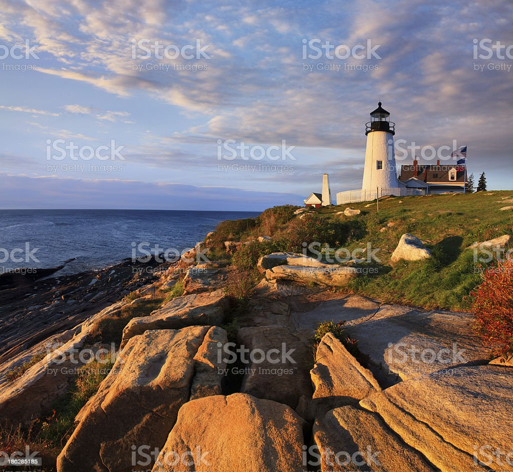 A lighthouse at Permaquid Point stock photo
