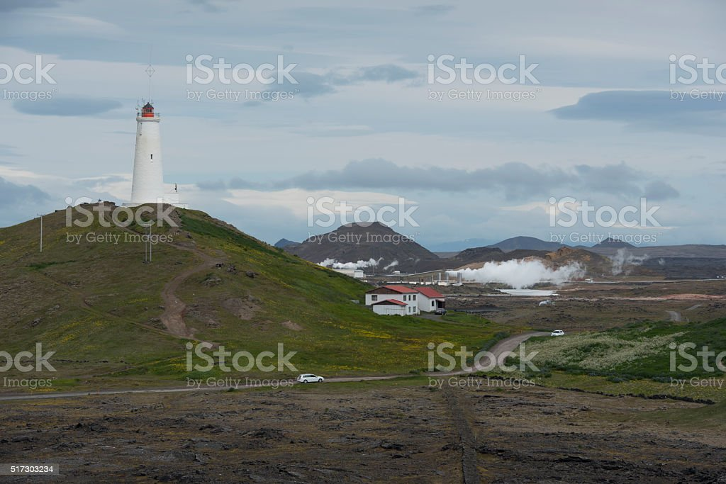 Lighthouse at Reykjanesviti, Iceland stock photo