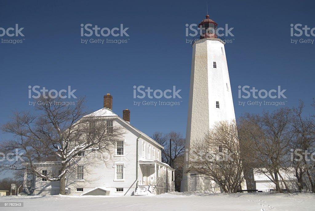Lighthouse at Sandy Hook, New Jersey stock photo