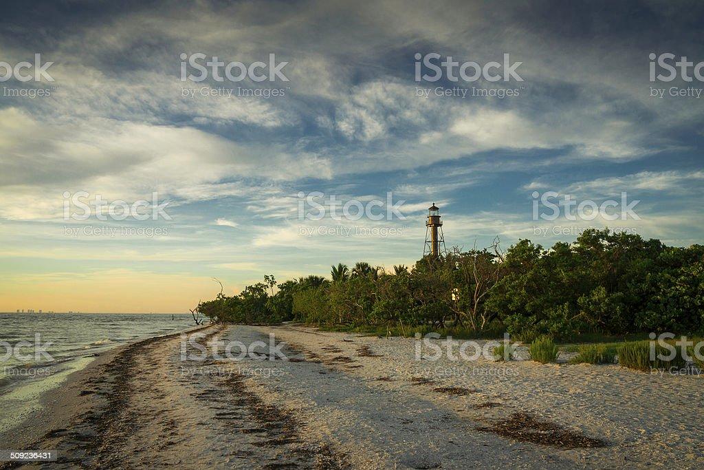 Lighthouse at Sanibel Island stock photo
