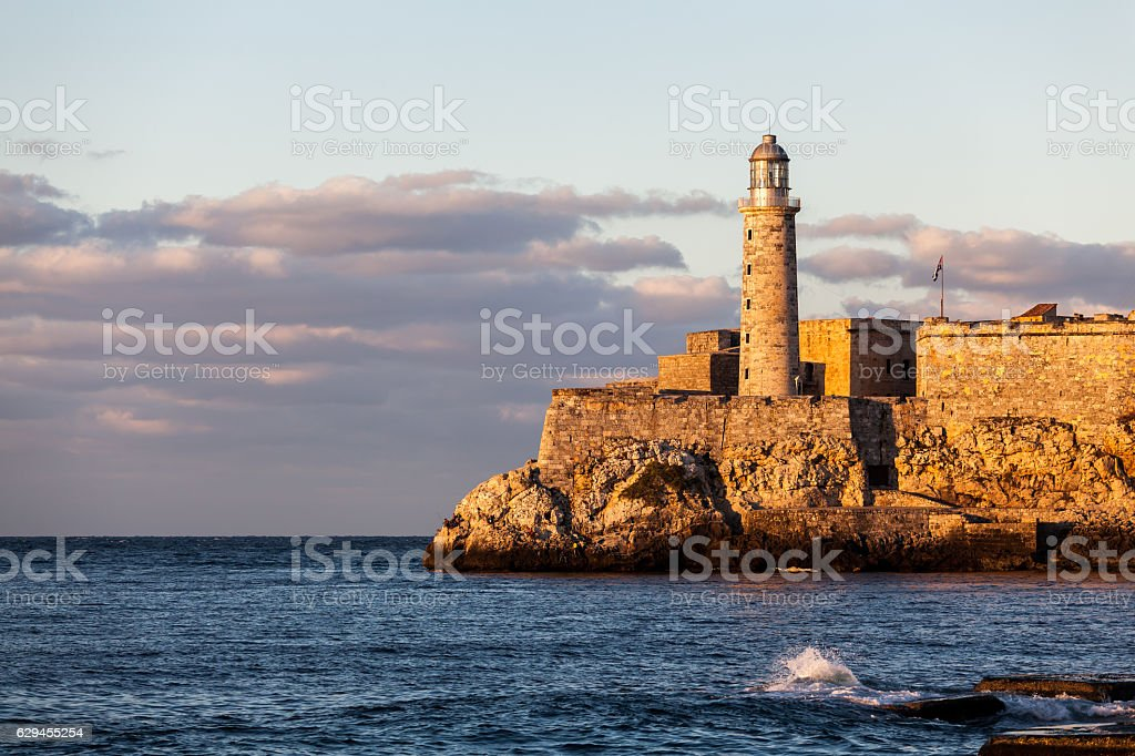 Lighthouse at sunset, havana, Cuba stock photo