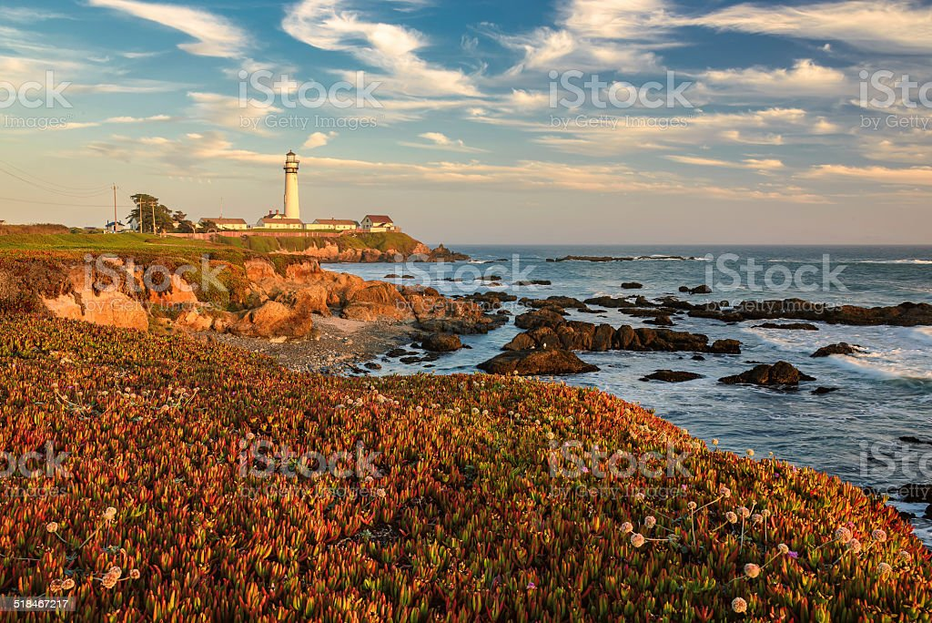 Lighthouse at sunset, Pacific coast, California stock photo
