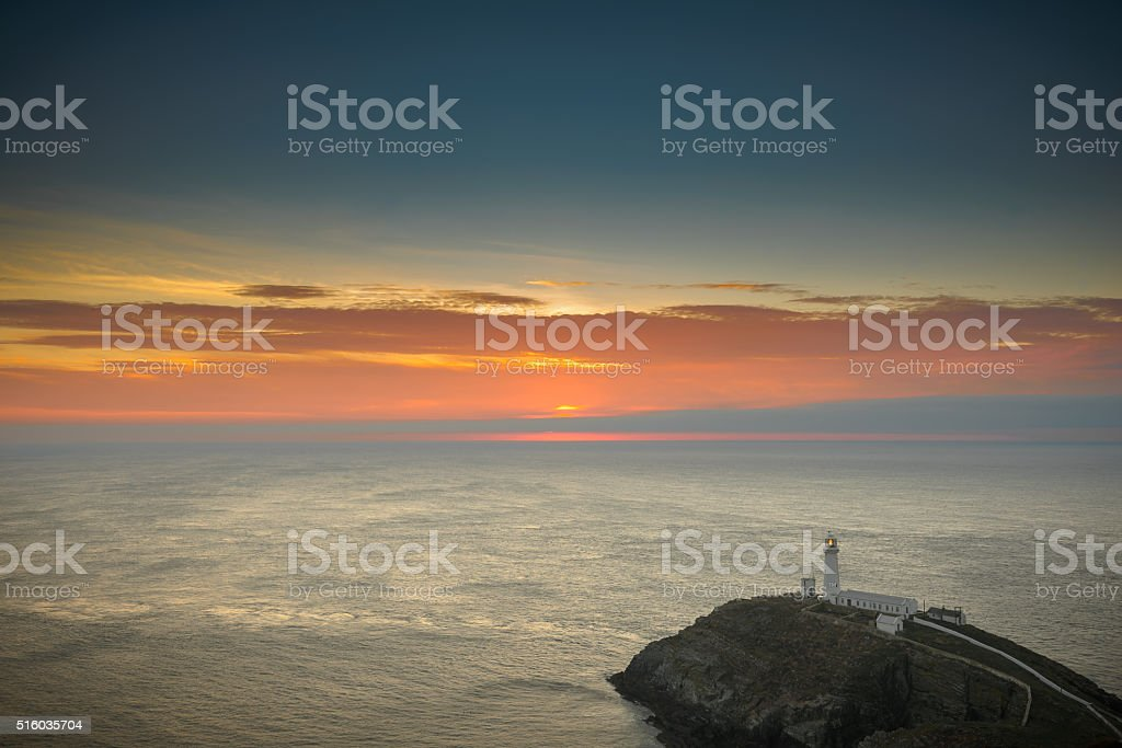 Lighthouse at Sunset,South Stack, Anglesey,North Wales stock photo