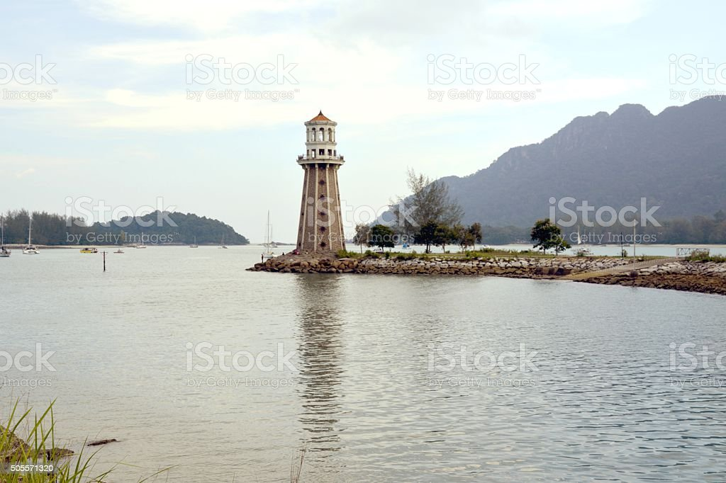 Lighthouse at Telaga Harbour Park, Pulau Langkawi stock photo
