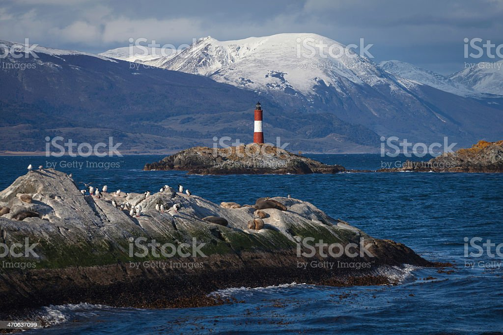 Lighthouse at the Beagle Channel in Patagonia, Argentina stock photo