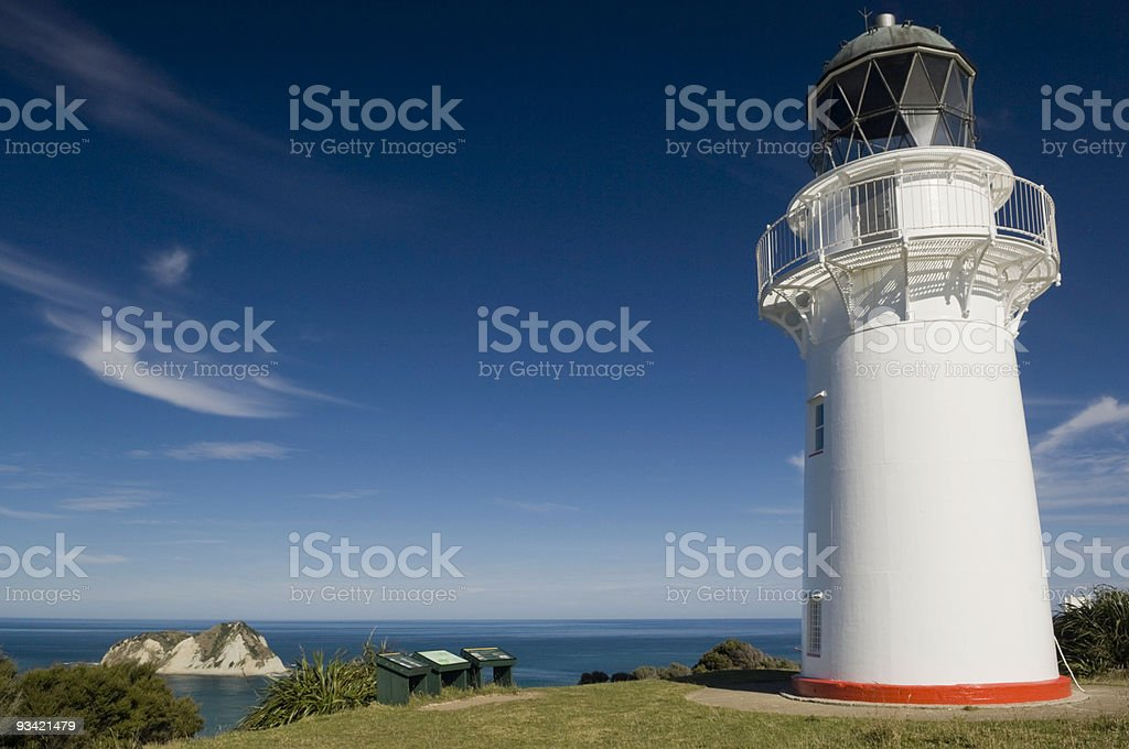 Lighthouse at the East Cape stock photo