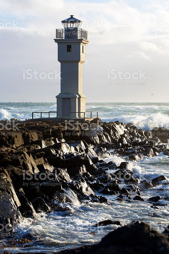 Lighthouse at the port of Akranes, Iceland stock photo