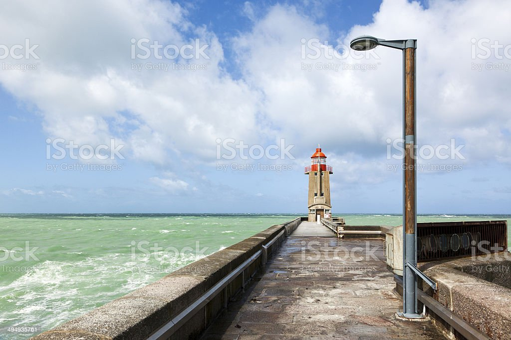 Lighthouse at the port of Fecamp stock photo