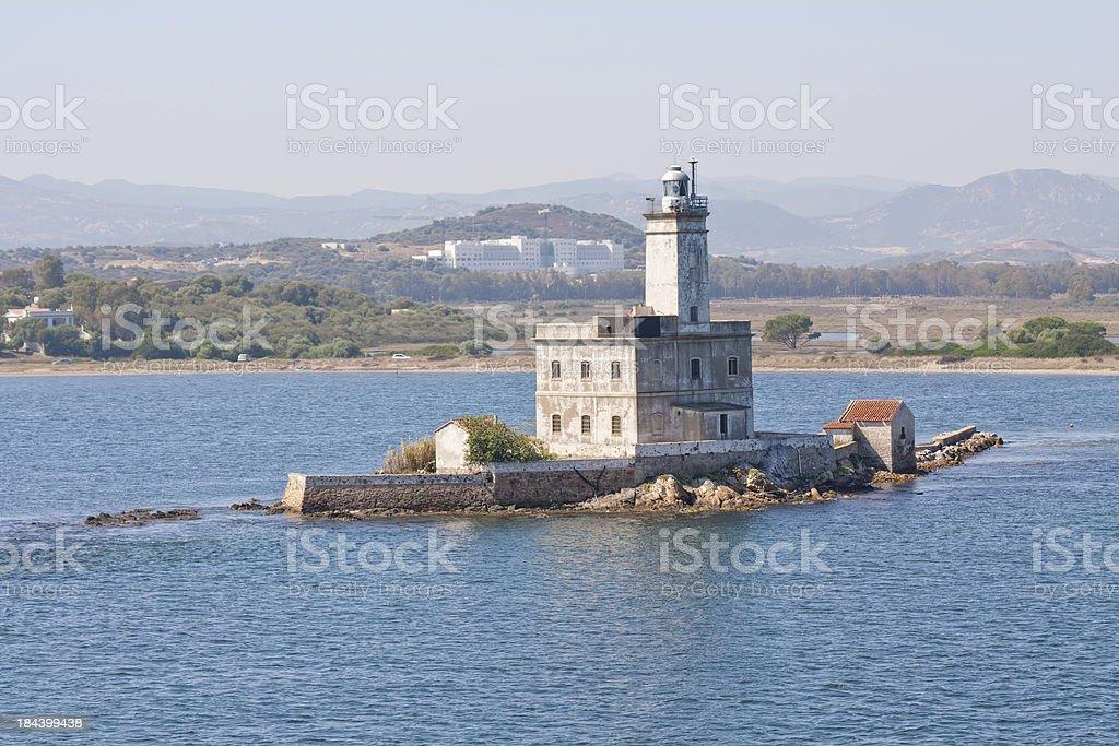 Lighthouse at the port of Olbia, Sardinia, Italy stock photo