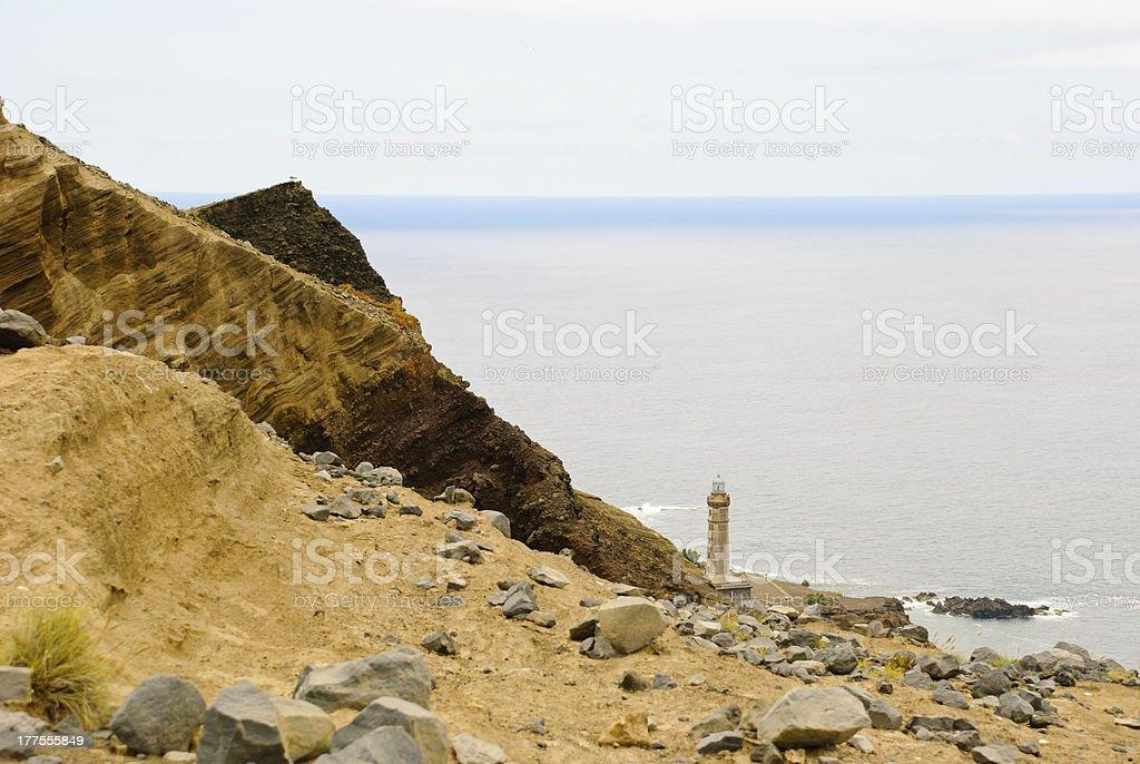 Lighthouse at Volcano dos Capelinhos royalty-free stock photo