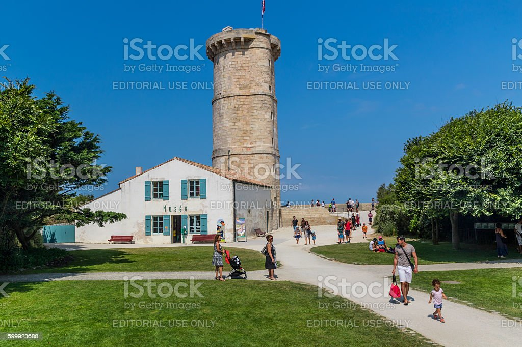 Lighthouse Baleines museum on Ile de Re, France stock photo