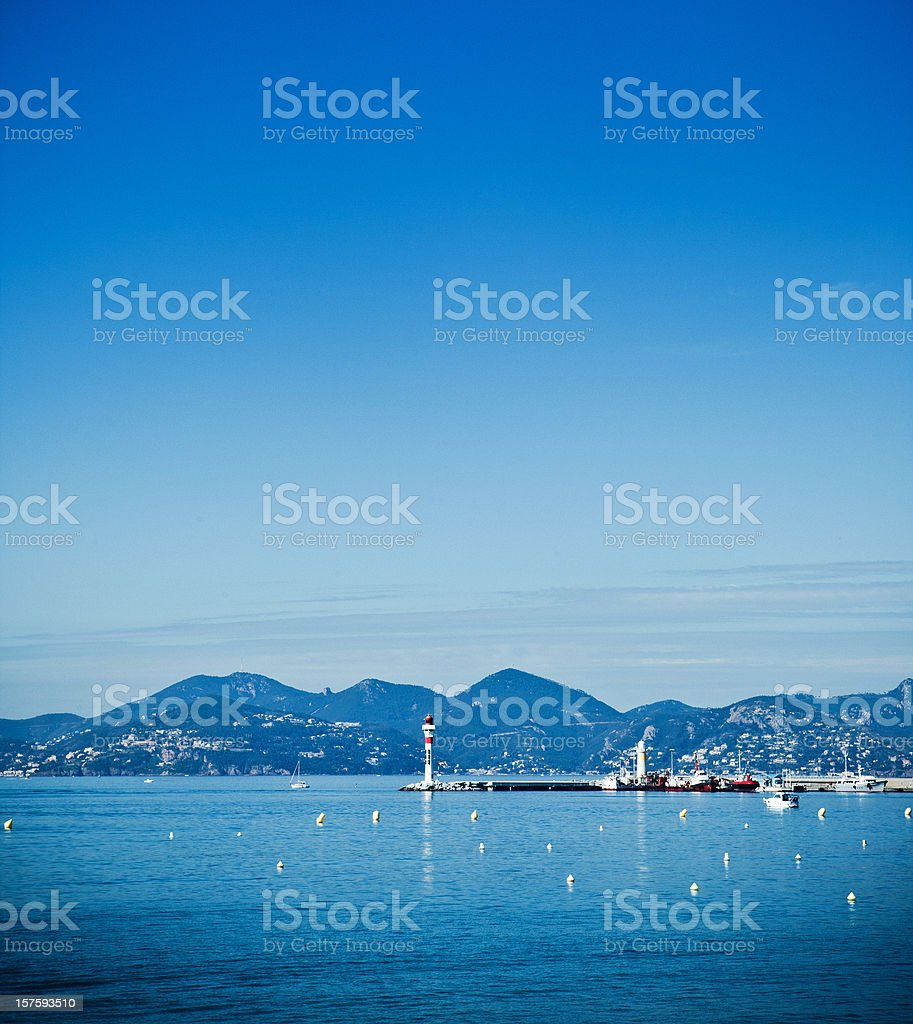 lighthouse bay of cannes stock photo