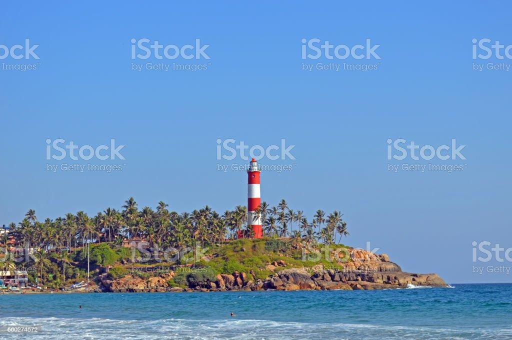 Lighthouse Beach at Kovalam, Kerala stock photo