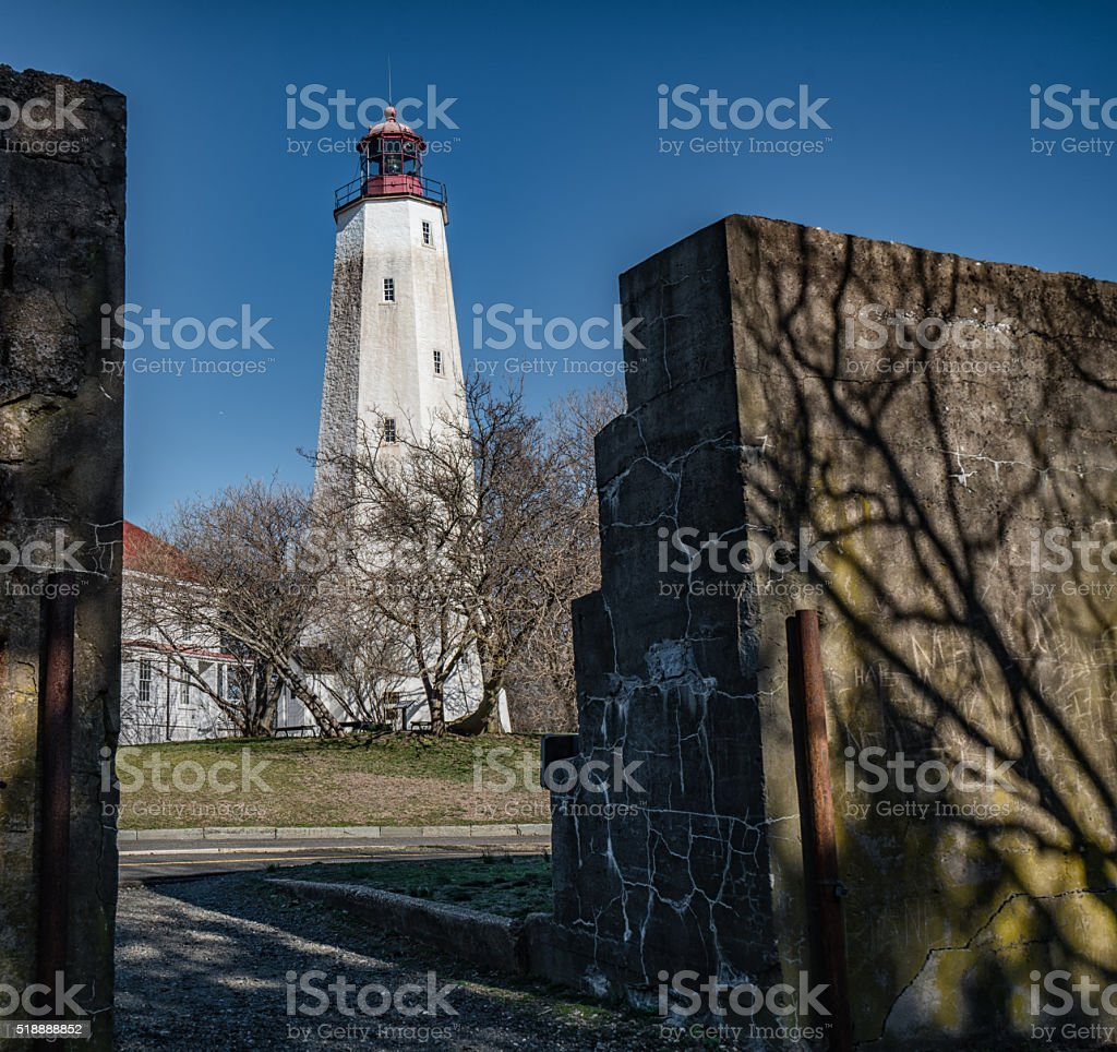 Lighthouse Behind the Wall stock photo