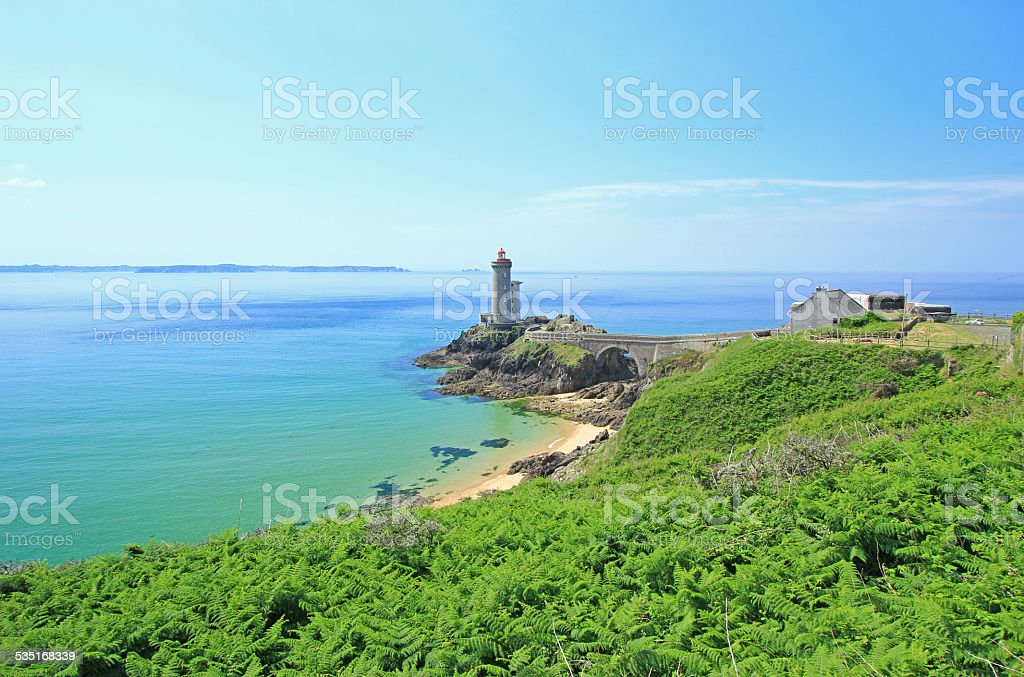 Lighthouse, Brittany, France stock photo