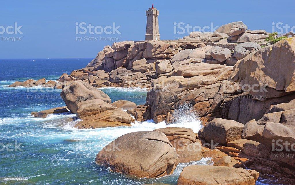 Lighthouse called  Mean Ruz near Ploumanach stock photo