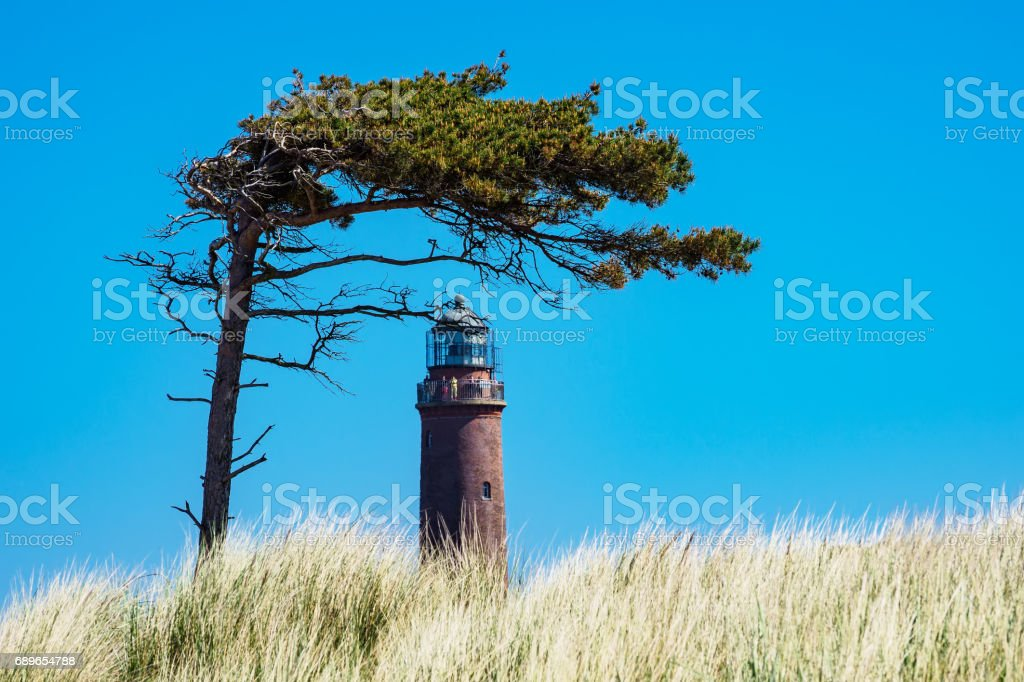 Lighthouse Darsser Ort on the Baltic Sea coast stock photo