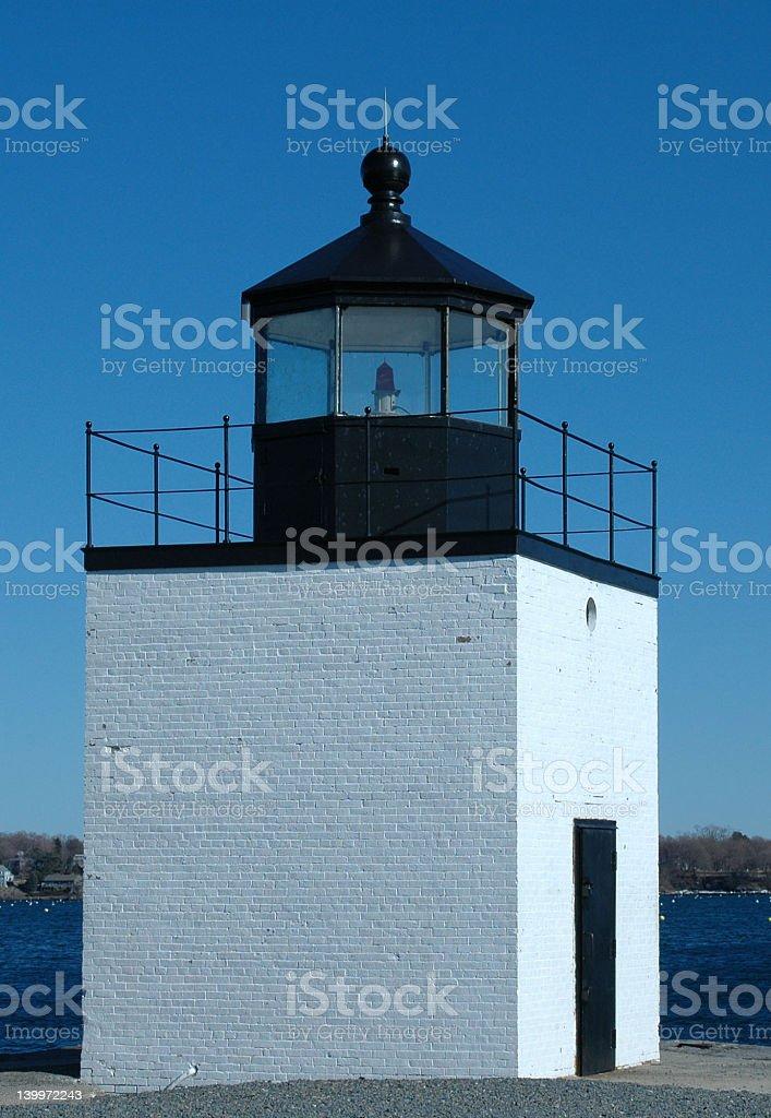 Lighthouse, Derby Wharf, Salem, MA stock photo
