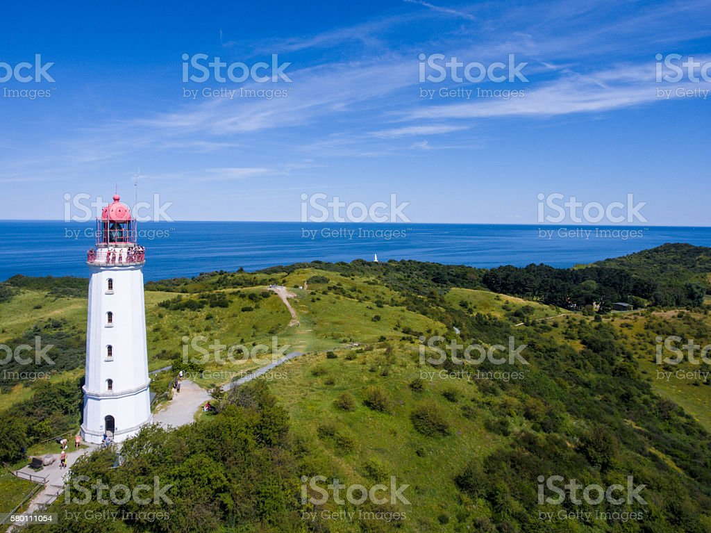 lighthouse dornbusch at hiddensee island stock photo