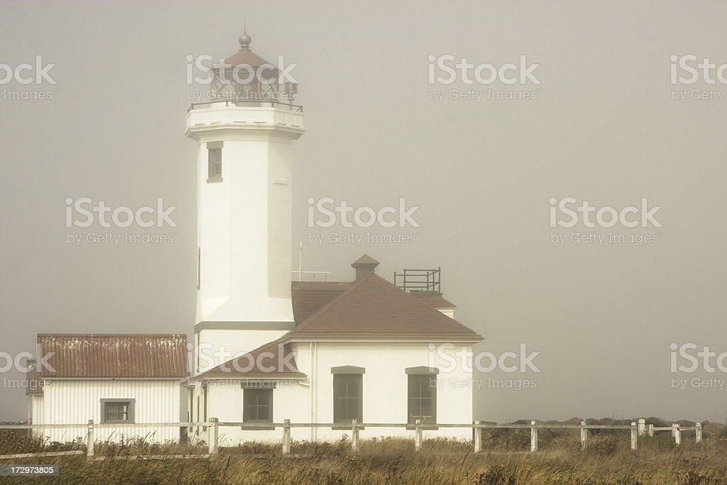 Lighthouse Fog Weather Point Wilson stock photo