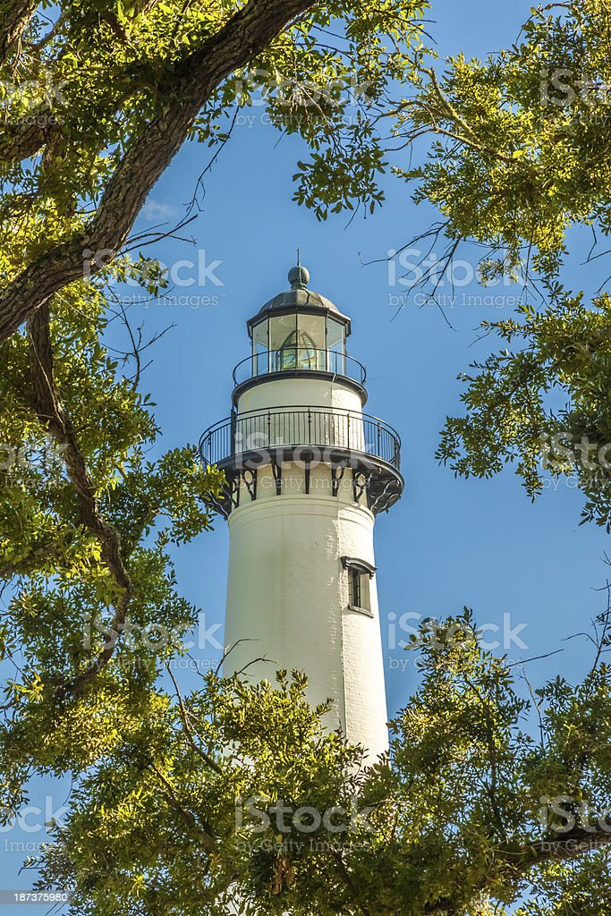 Lighthouse Framed by Oak stock photo