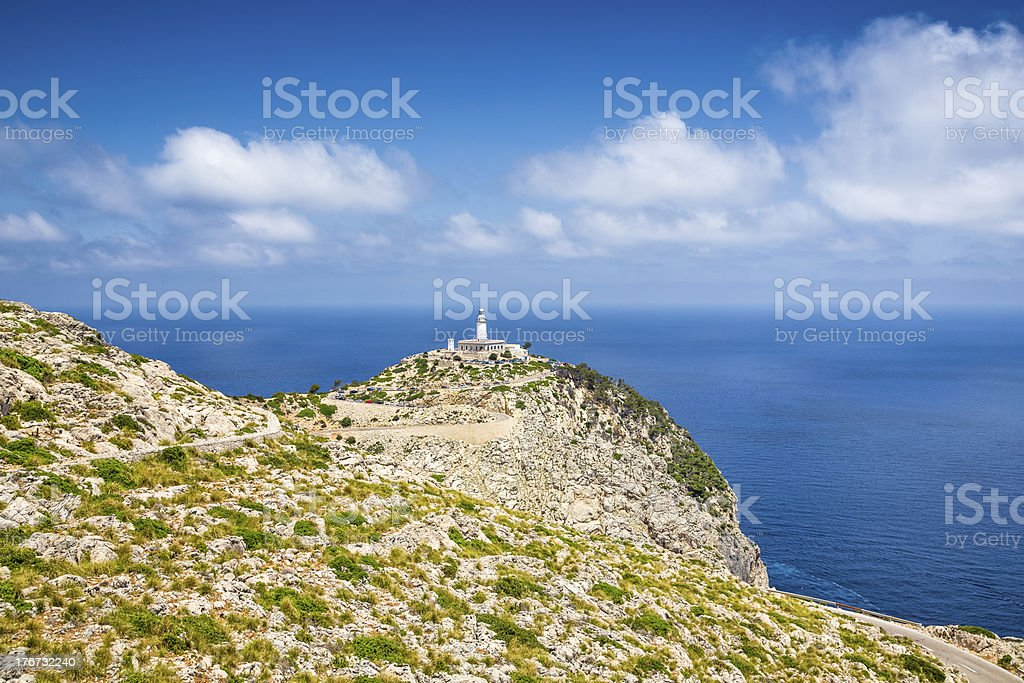 Lighthouse from Cap de Formentor and the famous cliffs royalty-free stock photo