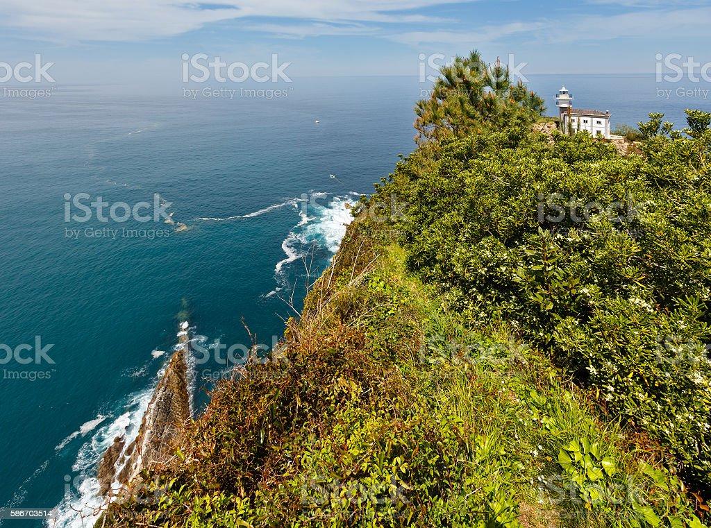 Lighthouse Getaria on Mount San Anton, Spain, Basque Country. stock photo