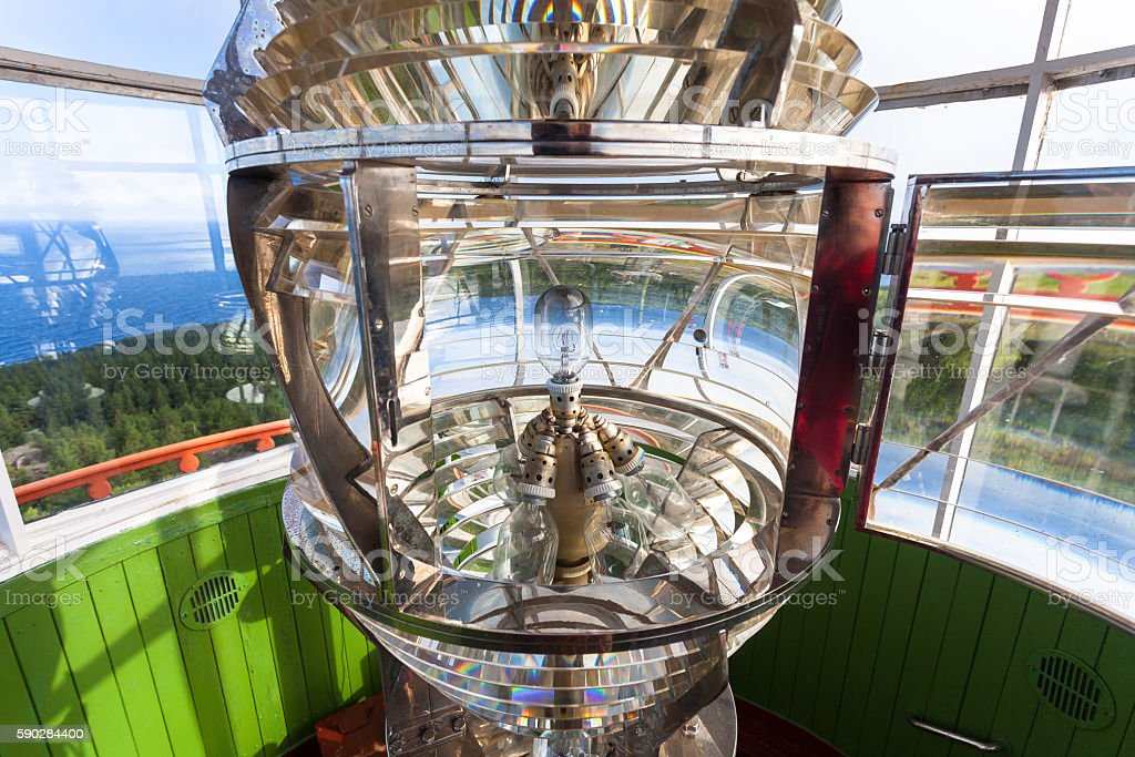 Lighthouse glass lamp stock photo