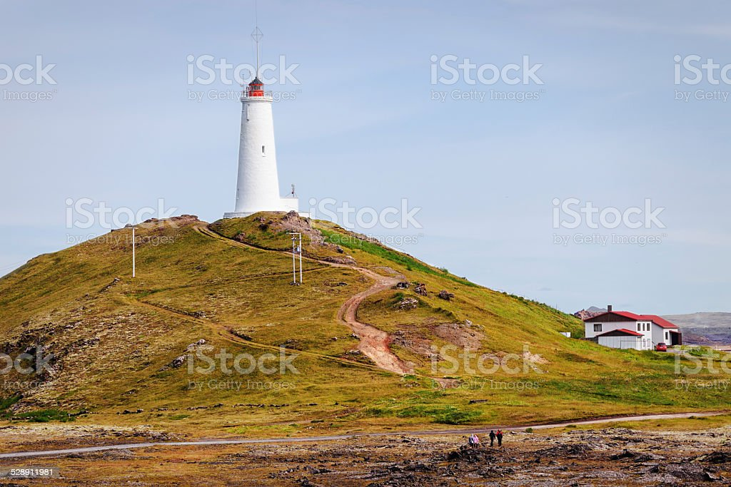 Lighthouse Gunnuhver, Iceland stock photo