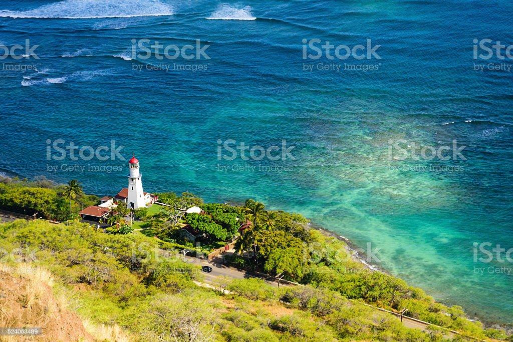 Lighthouse Hawaii stock photo