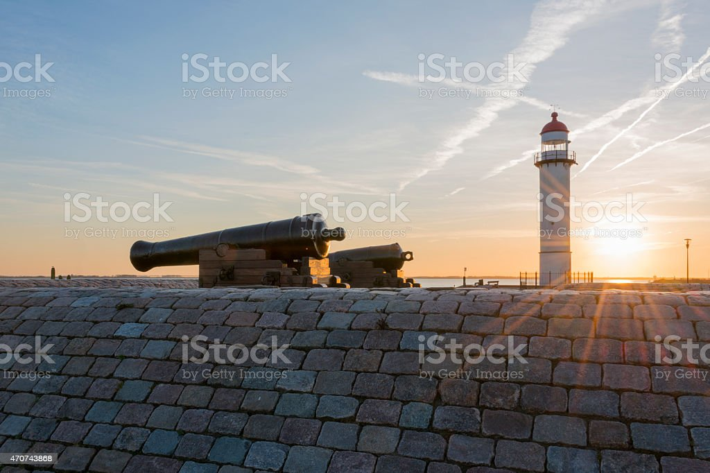 lighthouse Hellevoetsluis stock photo