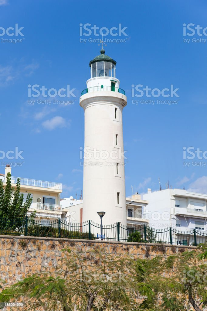 Lighthouse in Alexandropolis, Evros, Greece. Blue sky, sunny day. stock photo