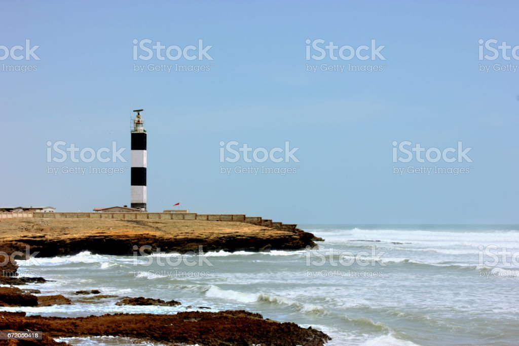 Lighthouse  in ancient Dwarka City, India stock photo