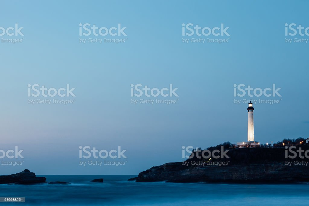 Lighthouse in Biarritz, France. stock photo