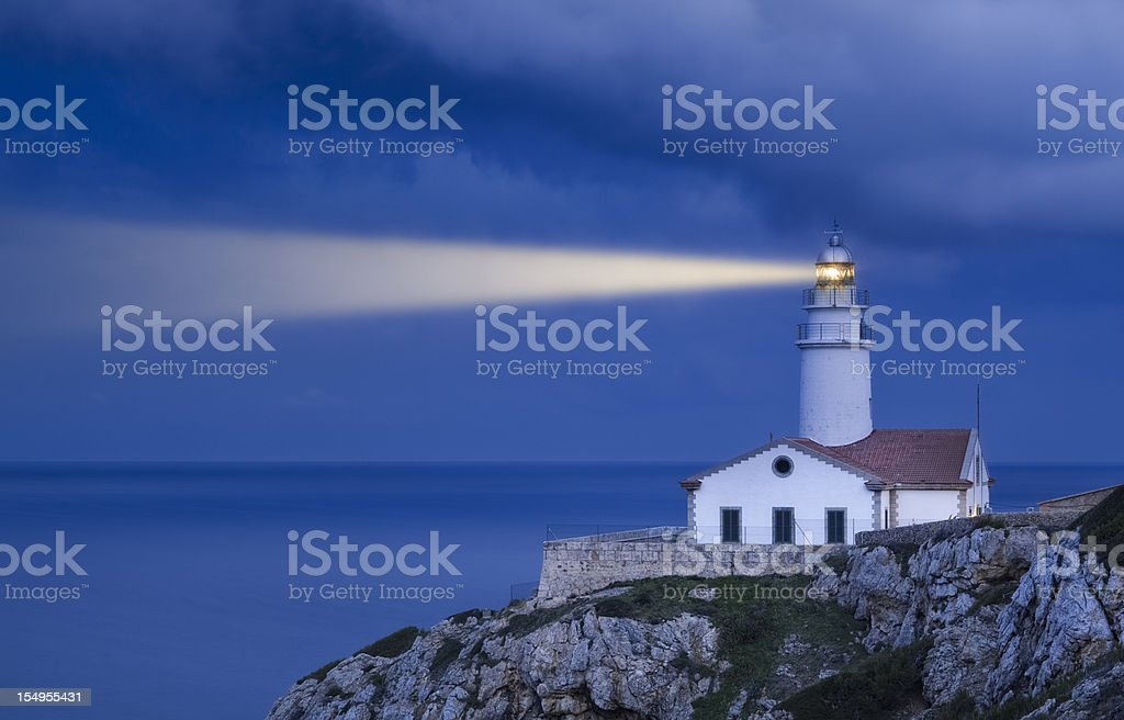 Lighthouse in Blue - Far de Capdepera royalty-free stock photo