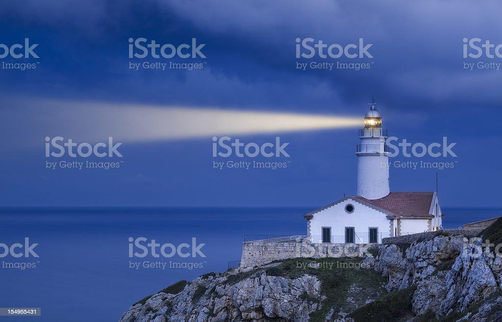 Lighthouse in Blue - Far de Capdepera stock photo