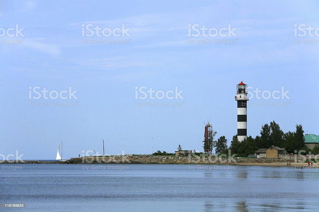 Lighthouse in Bolderaja royalty-free stock photo