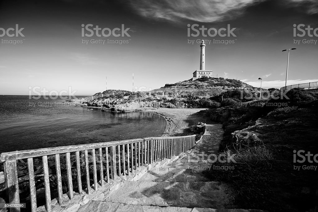Lighthouse in Cabo de Palos, Cartagena stock photo