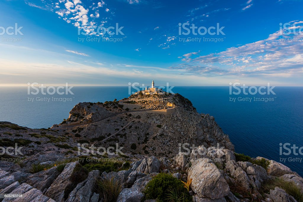 Lighthouse in Cap de Formentor Mallorca around sunset stock photo