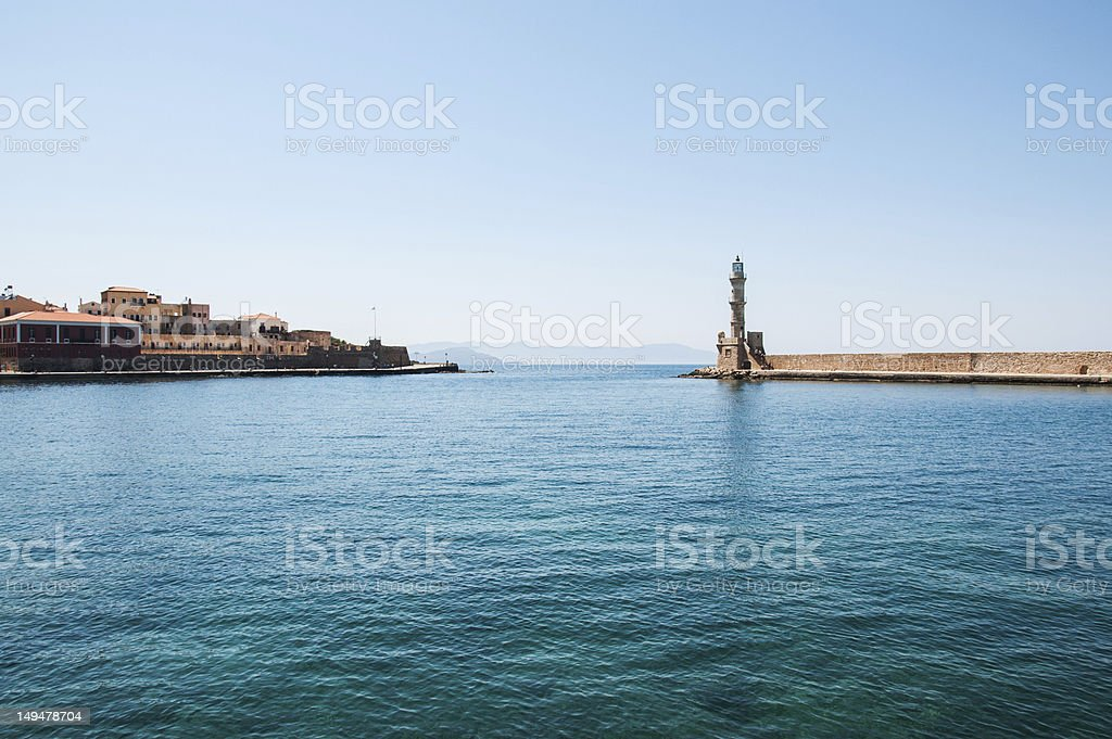 lighthouse in Chania, Greece royalty-free stock photo