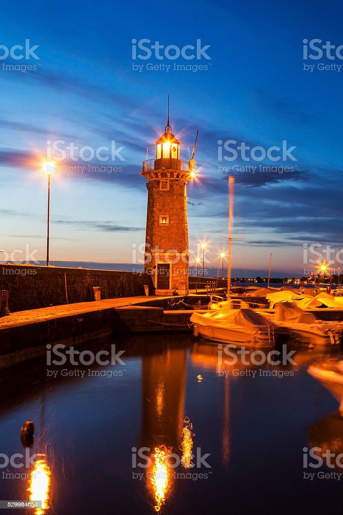 Lighthouse in Desenzano del Garda stock photo