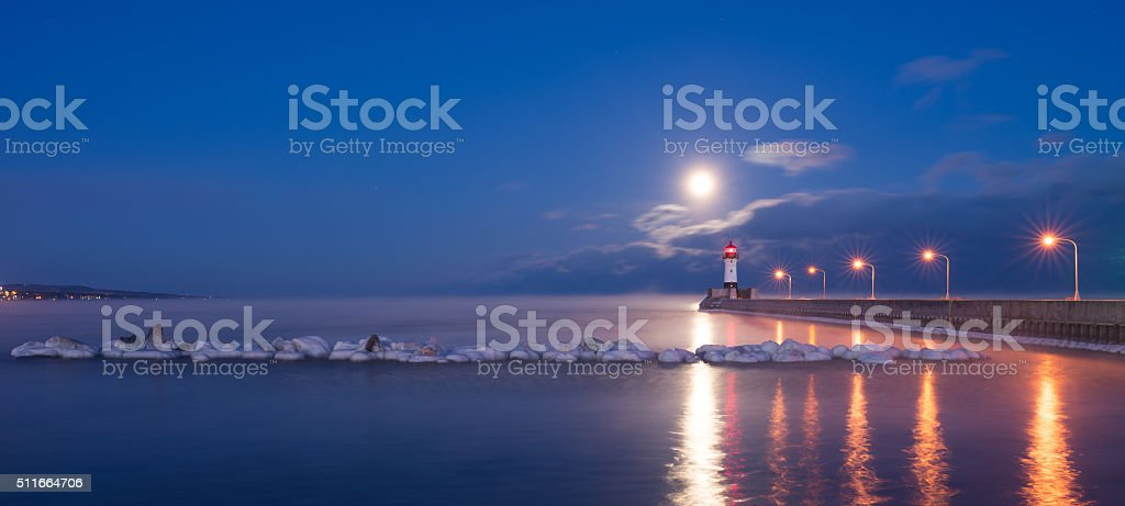 lighthouse in Duluth stock photo