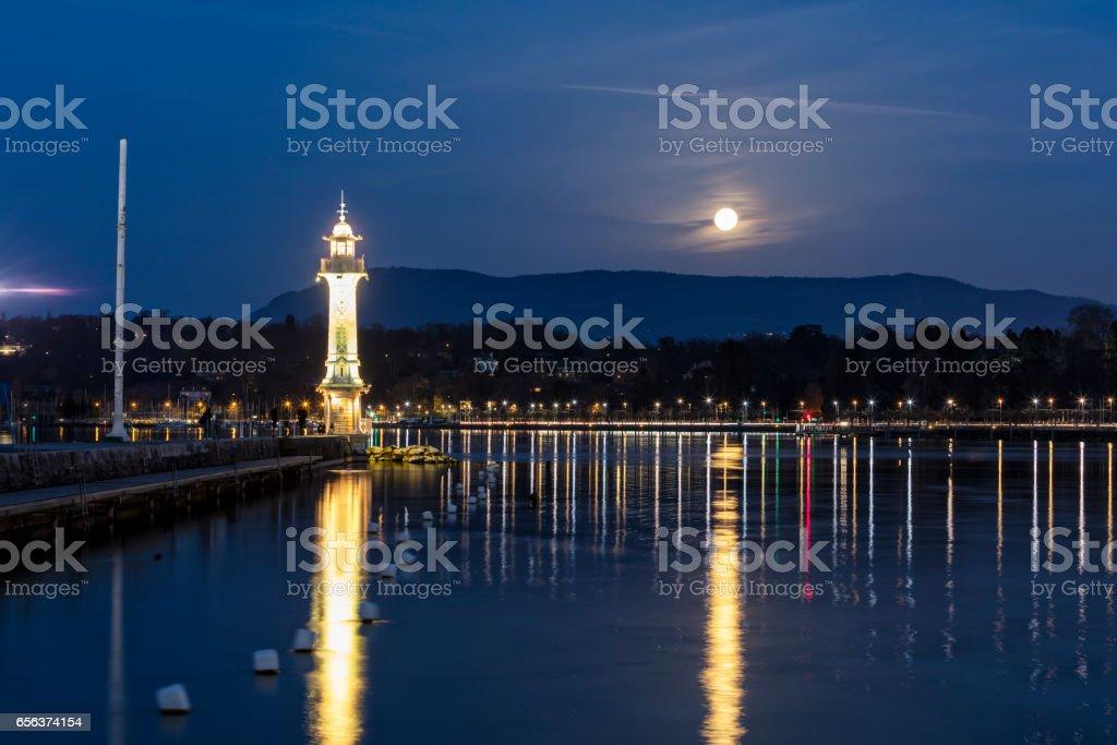 Lighthouse in Geneva at Night, Switzerland stock photo