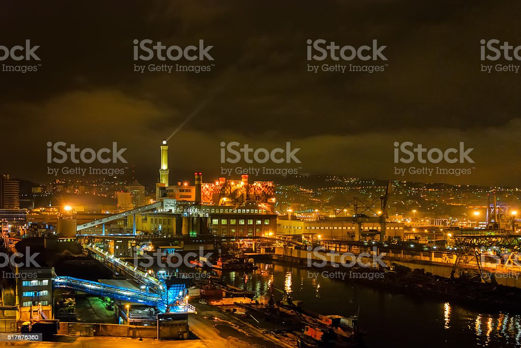 Lighthouse in Genova, Italy stock photo