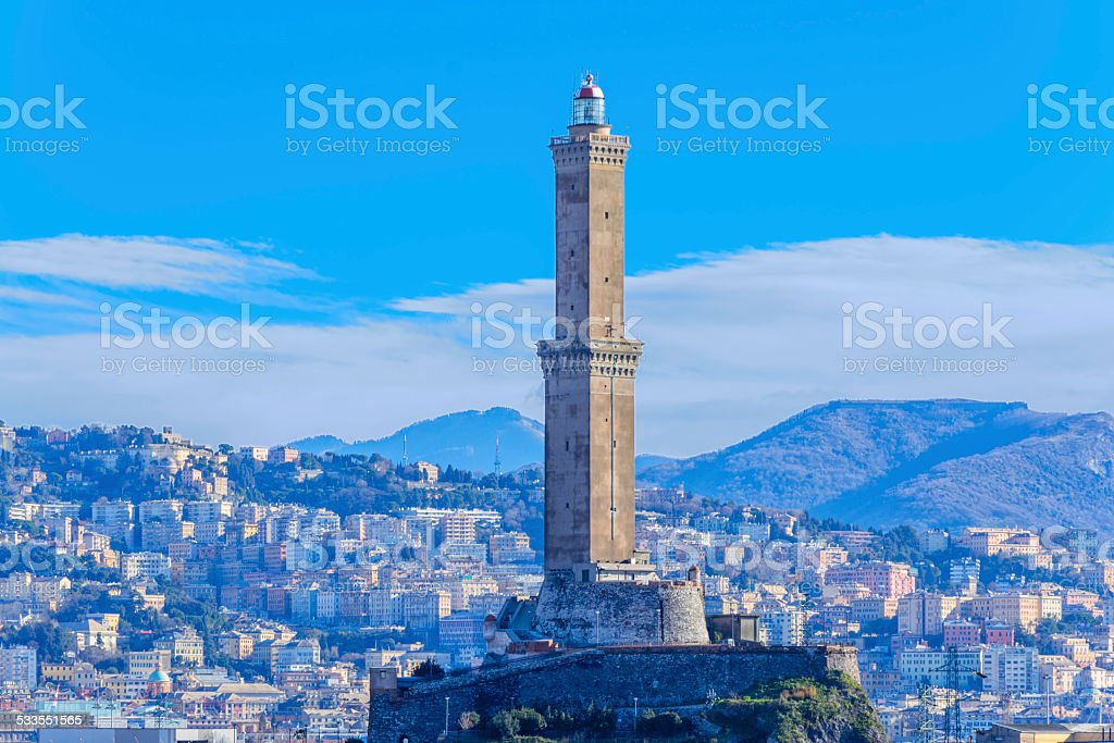 Lighthouse in Genova, Italy stock photo
