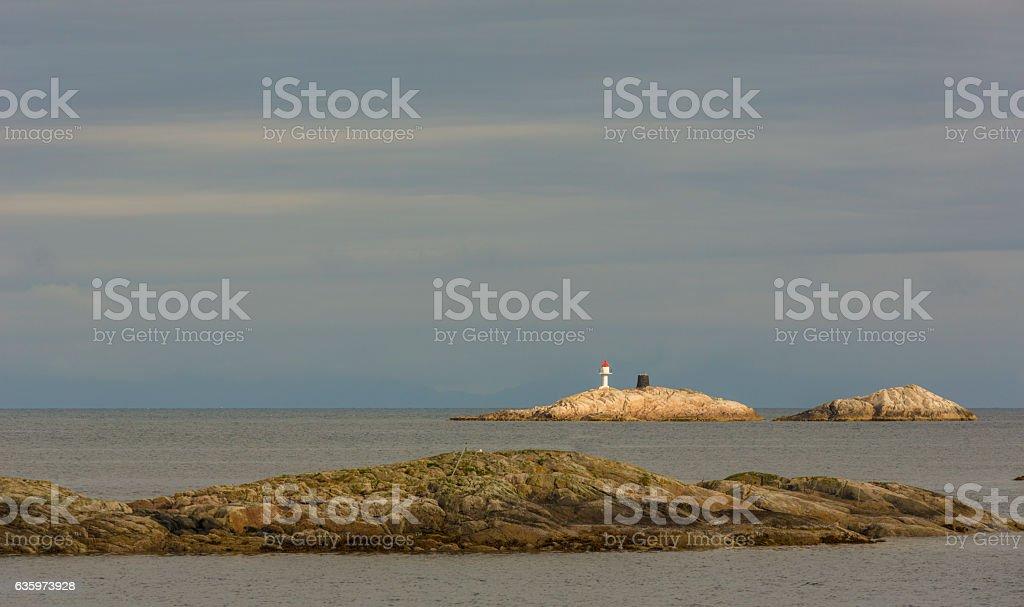 Lighthouse in Henningsvaer, Norway stock photo
