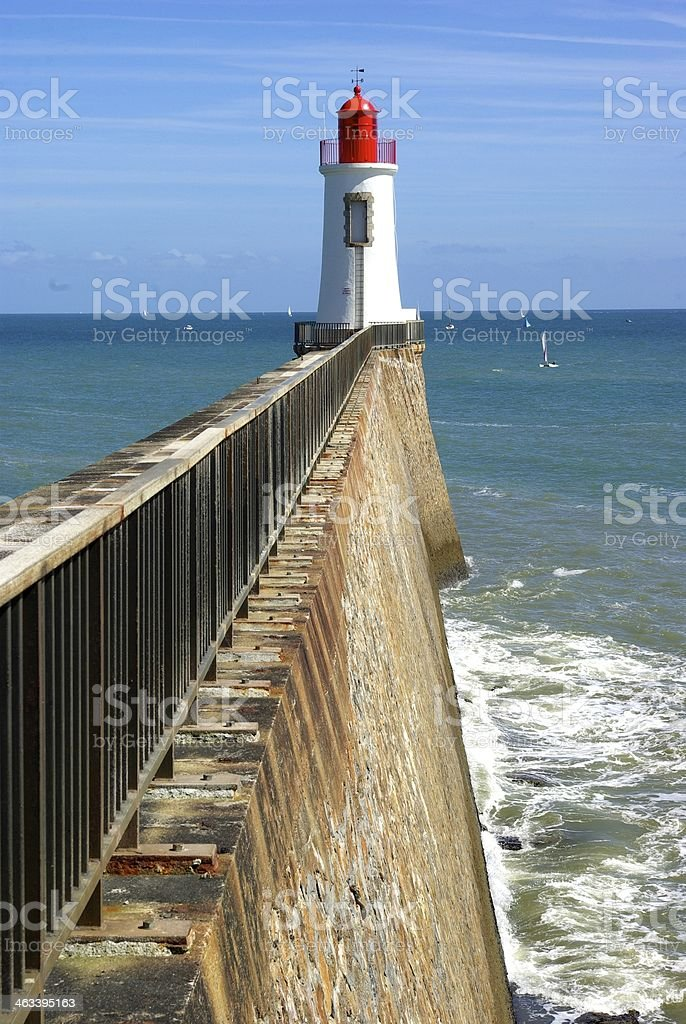 Lighthouse in les Sables d'Olonne stock photo