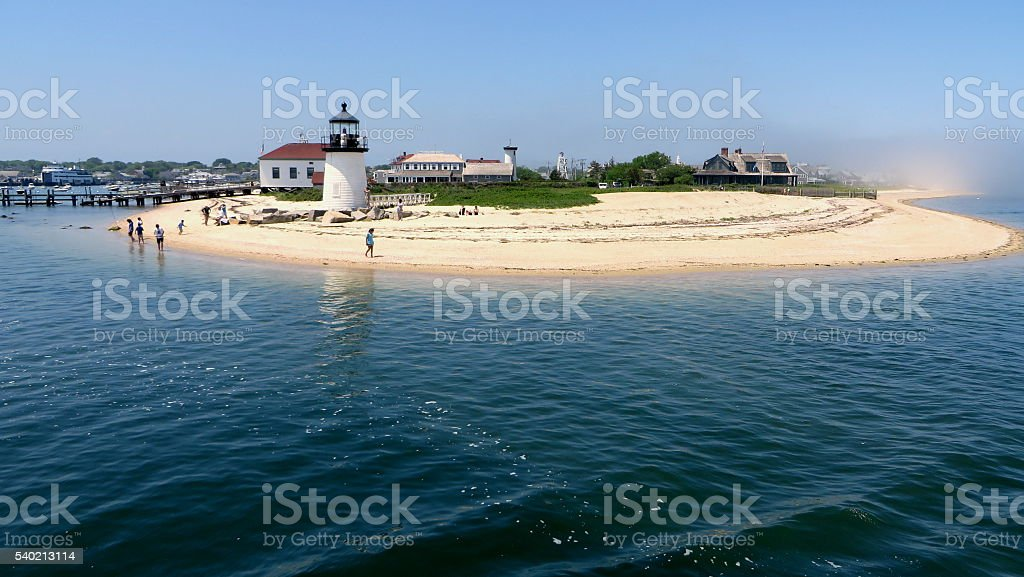 Lighthouse in Nantucket stock photo