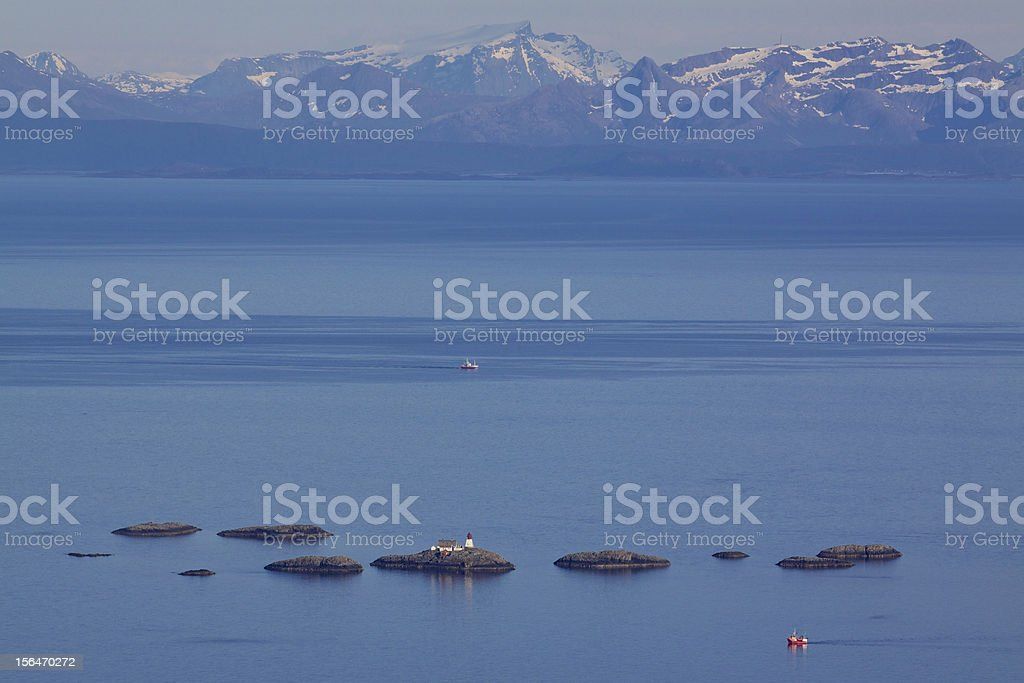 Lighthouse in norwegian sea royalty-free stock photo