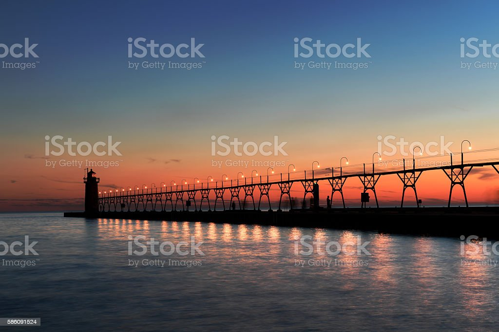 Lighthouse in South Haven stock photo